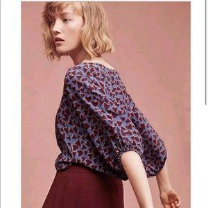 Anthropologie Maeve Heart Kimono Sleeve Top Silk